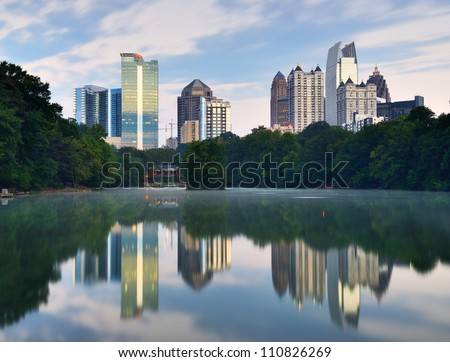 Midtown Atlanta, Georgia, USA viewed from Piedmont Park's Lake Meer.