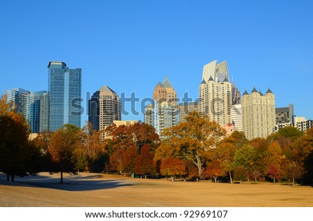 Midtown Atlanta, Georgia viewed from Piedmont Park in the autumn.