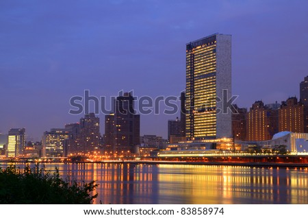 Midtown Manhattan buildings including the UN Headquarters viewed from Roosevelt Island in New York, NY.