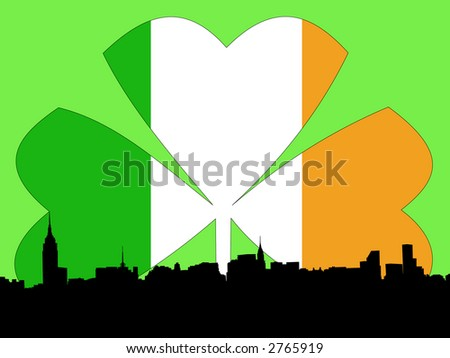 Midtown manhattan Happy St Patricks day illustration