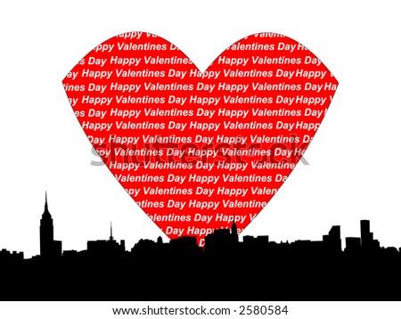 Midtown manhattan Happy valentines day illustration JPG