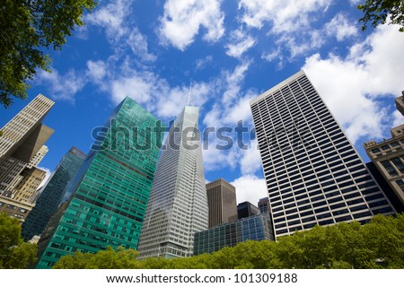 Midtown Manhattan highrise buildings as seen from Bryant Park, New York