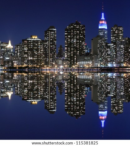 Midtown Manhattan skyline at Night Lights, New York City