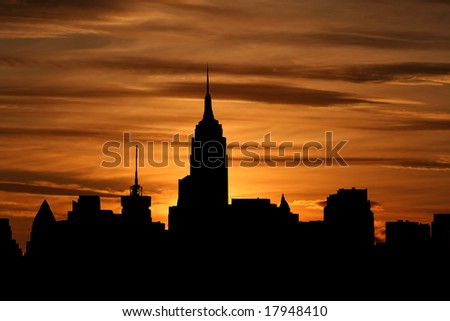 Midtown Manhattan skyline at sunset with beautiful sky illustration