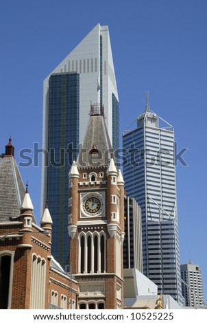 Midtown Perth in Australia with at foreground the town hall