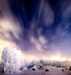 Midway Ice-castles at night.