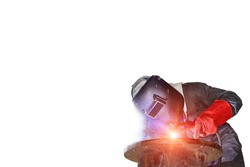 Mig welding worker man process steel pipe with protective equipment isolated on white background