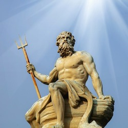 Mighty and powerful god of the sea, oceans and water Neptune (Poseidon).
