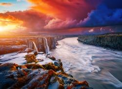 Mighty stream of breathtaking Selfoss cascade. Location place Vatnajokull National Park, Iceland, Europe. Vibrant photo wallpaper. Image of most popular world landmarks. Discover the world of beauty.