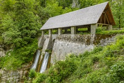 Mighty water barrier (klavze) on Belca river for floating the wood needed for the Idrija mercury mine, slovenia