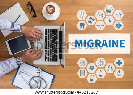 MIGRAINE Professional doctor use computer and medical equipment all around, desktop top view, coffee