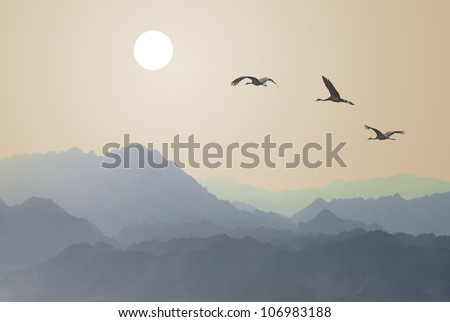 Migrating cranes to the sun over the mountains