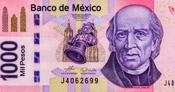 Miguel Hidalgo Portrait from Mexico 1000 Pesos Banknotes. An Old paper banknote, vintage retro. Famous ancient Banknotes. Collection.