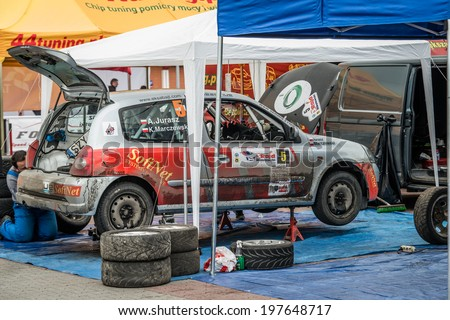 MIKOLOW, POLAND - APRIL 26: Pit Stop, car maintenance area at 3rd Mikolow Rally on 26th April 2014, Mikolow, Poland