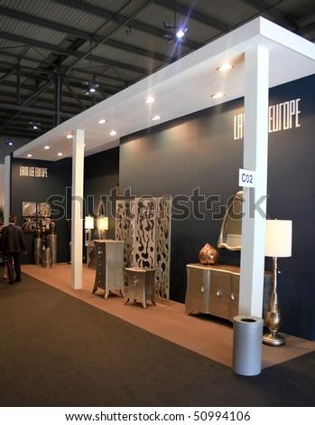 Milan april 15 people visit lam lee europe interior design stand at salone del mobile for International interior design exhibition
