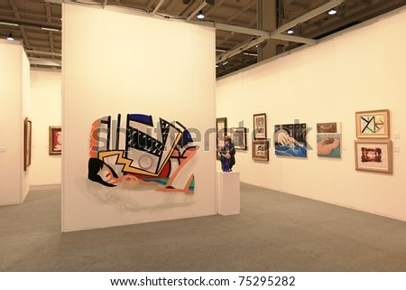 MILAN - APRIL 08: People visit sculpture, painting and art galleries during MiArt ArtNow, international exhibition of modern and contemporary art on April 08, 2011 in Milan, Italy.