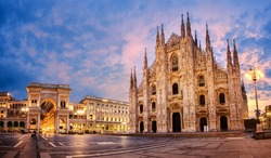 Milan Cathedral, Duomo di Milano, Italy, one of the largest churches in the world on sunrise