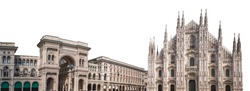 Milan Cathedral (Italian: Duomo di Milano) and Vittorio Emanuele II gallery isolated on white background