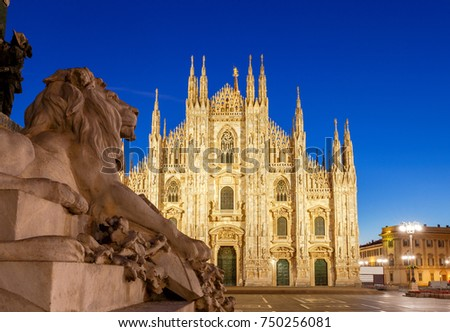 Milan Cathedral, the Duomo di Milano at dawn, one of the largest Catholic churches. Milan. Italy. #750256081