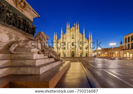 Milan Cathedral, the Duomo di Milano at dawn, one of the largest Catholic churches. Milan. Italy. #750256087