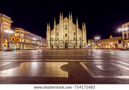 Milan Cathedral, the Duomo di Milano at dawn, one of the largest Catholic churches. Milan. Italy. #754172683