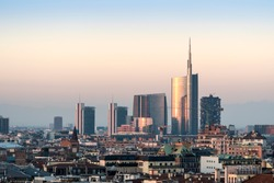 Milan cityscape at sunset