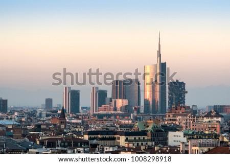 Milan cityscape at sunset