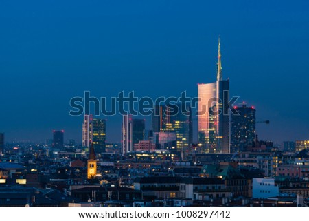 Milan cityscape at sunset with new skyscrapers of Porta Nuova financial and business district #1008297442