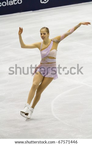 MILAN - DEC 18: Carolina Kostner during the Italian Championship in the Forum Arena, on December, 2010, in Milan. She win the gold medal