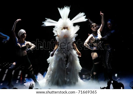 MILAN - DECEMBER 04: Singer Lady Gaga during the first concert in Milan on December 4, 2010 in Assago, Milan, Italy.