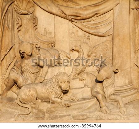 Milan - detail from facade of Duomo - Mashiah peace in prophecy of Jesaiah