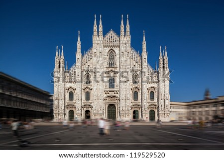 Milan Duomo Cathedral in a blurred context, Lombardy, Italy