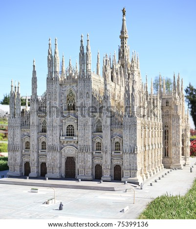 Milan Duomo Cathedral miniature in Mini Park, Italy