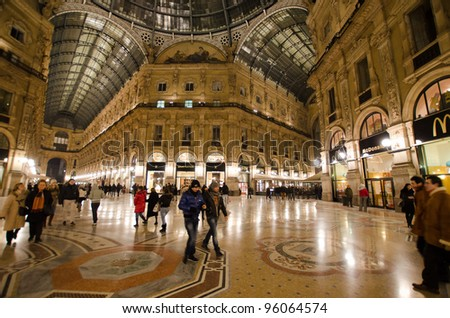 MILAN - FEBRUARY 5: Vittorio Emanuele II shopping gallery on February 5, 2012 in Milan, Italy. Inaugurated in 1865, the gallery claims to be the oldest shopping center worldwide.