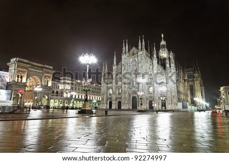 Milan gothic cathedral and and Vittorio Emanuele II gallery at night, Italy