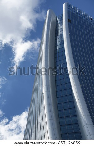 MILAN, ITALY - APRIL 17, 2017: Milan (Lombardy, Italy): the skyscraper known as Generali Tower in the new Citylife area (Tre Torri) #657126859