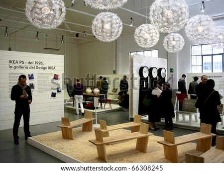MILAN, ITALY - APRIL 20: People visit Ikea design show at Zona Tortona area during Fuorisalone, fashion and public design festival show April 20, 2009 in Milan, Italy.