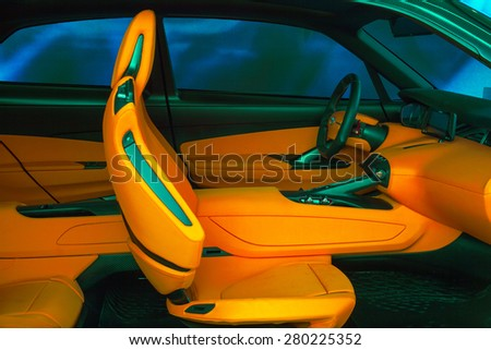 MILAN, ITALY - APRIL 16: View of front interior for a new car at displayed Tortona space location of important events during Milan Design week on April 16, 2015