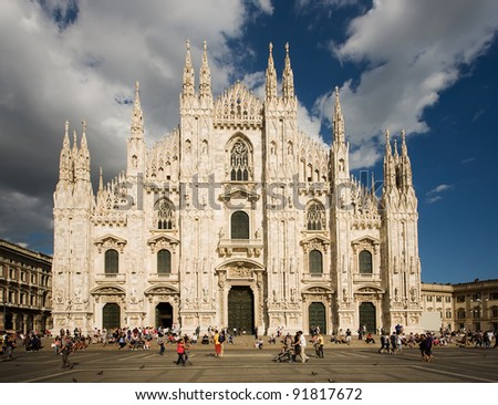 MILAN, ITALY - AUGUST 28: Milan Cathedral on August 28, 2010 in Milan, Italy. Milan's Duomo is the second largest Catholic cathedral in the world, it is 157 meters long and can  fit 40,000 people.