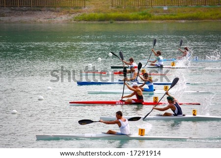 MILAN, ITALY - AUGUST 31, 2008: The Canoe and Kayak Italian Championships 2008 took place in Milan on the 30th and 31st August 2008