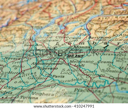 MILAN, ITALY - CIRCA APRIL 2016: Detail of a map of the city with ...