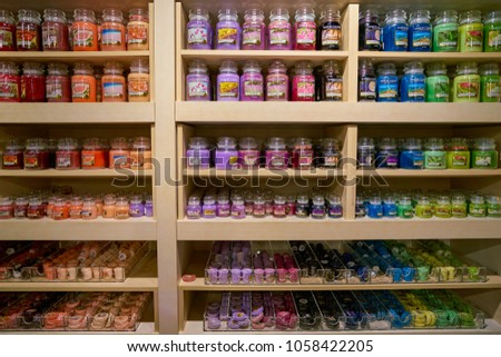 MILAN, ITALY - CIRCA NOVEMBER, 2017: Yankee Candle products on display at Rinascente shopping center in Milan. Rinascente is a collection of high-end stores. #1058422205