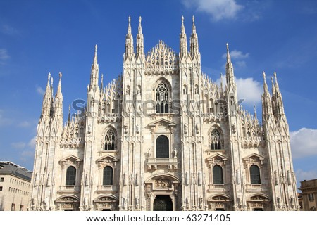 Milan, Italy. Famous landmark - the cathedral made of Candoglia marble.