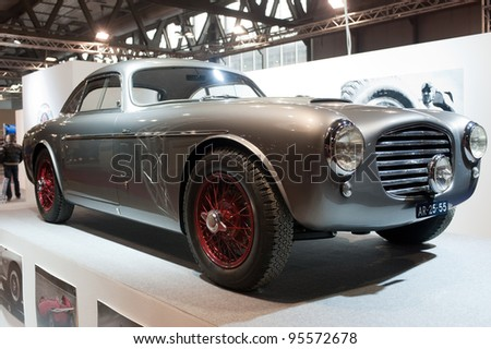 MILAN, ITALY - FEB 19: Siata Daina with Borrani wheels on display at Milano AutoClassica, the classical and sporting car show in Milan, Italy on February 19, 2012