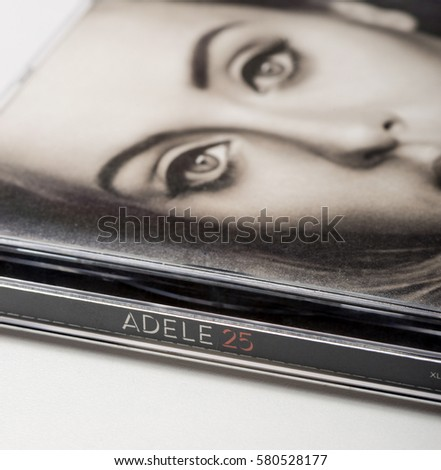 "Milan, Italy - February 12, 2017: Adele, ""25"" album. 25 is the third studio album by British singer and songwriter Adele. Won the 2017 Grammy Awards for Album of the Year. Illustrative Editorial."