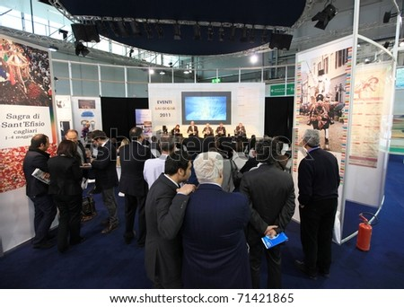 MILAN, ITALY - FEBRUARY 17: Business conference at Sardegna regional stand at Italy pavilion area during BIT, International Tourism Exchange Exhibition on February 17, 2011 in Milan, Italy.