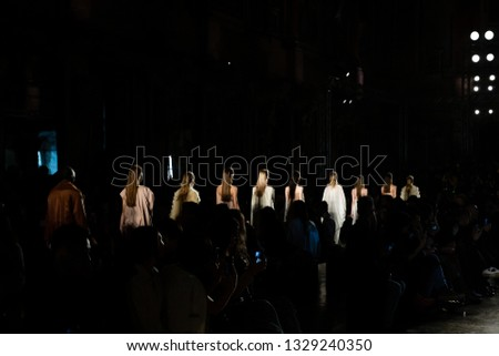MILAN, ITALY - FEBRUARY 20: Gorgeous models walk the runway at Alberto Zambelli show during Milan Women's Fashion Week on FEBRUARY 20, 2019 in Milan. #1329240350