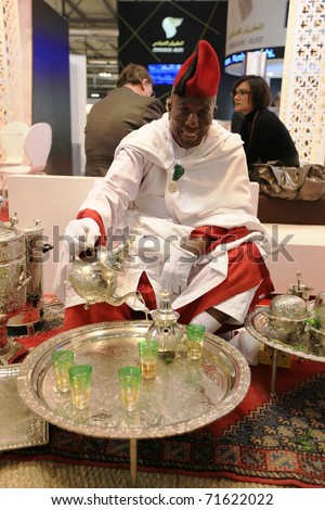 MILAN, ITALY - FEBRUARY 17: Morocco tea break at the World pavilion at BIT, International Tourism Exchange Exhibition on February 17, 2011 in Milan, Italy.