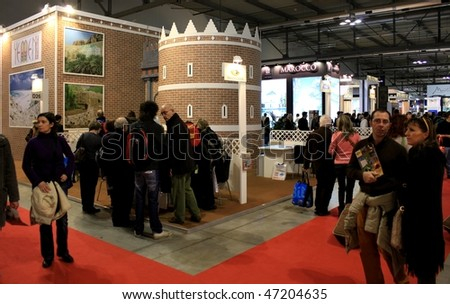MILAN, ITALY - FEBRUARY 20: People at stand dedicated to Yemen at BIT, International Tourism Exchange Exhibition February 20, 2010 in Milan, Italy.