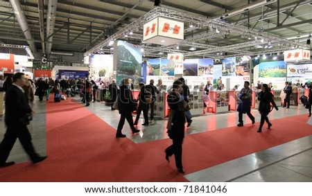 MILAN, ITALY - FEBRUARY 17: People visiting Austria tourism stand at BIT, International Tourism Exchange Exhibition on February 17, 2011 in Milan, Italy.
